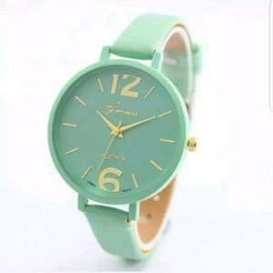 Mint Green Gold tones women's watch-big face